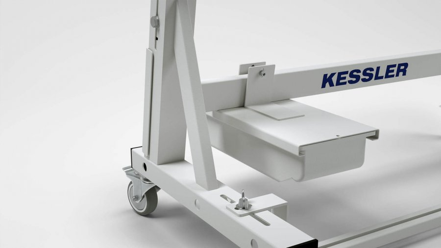 Sitz- oder Steharbeitsplatz KES-B – Schubfach für Rückleiste