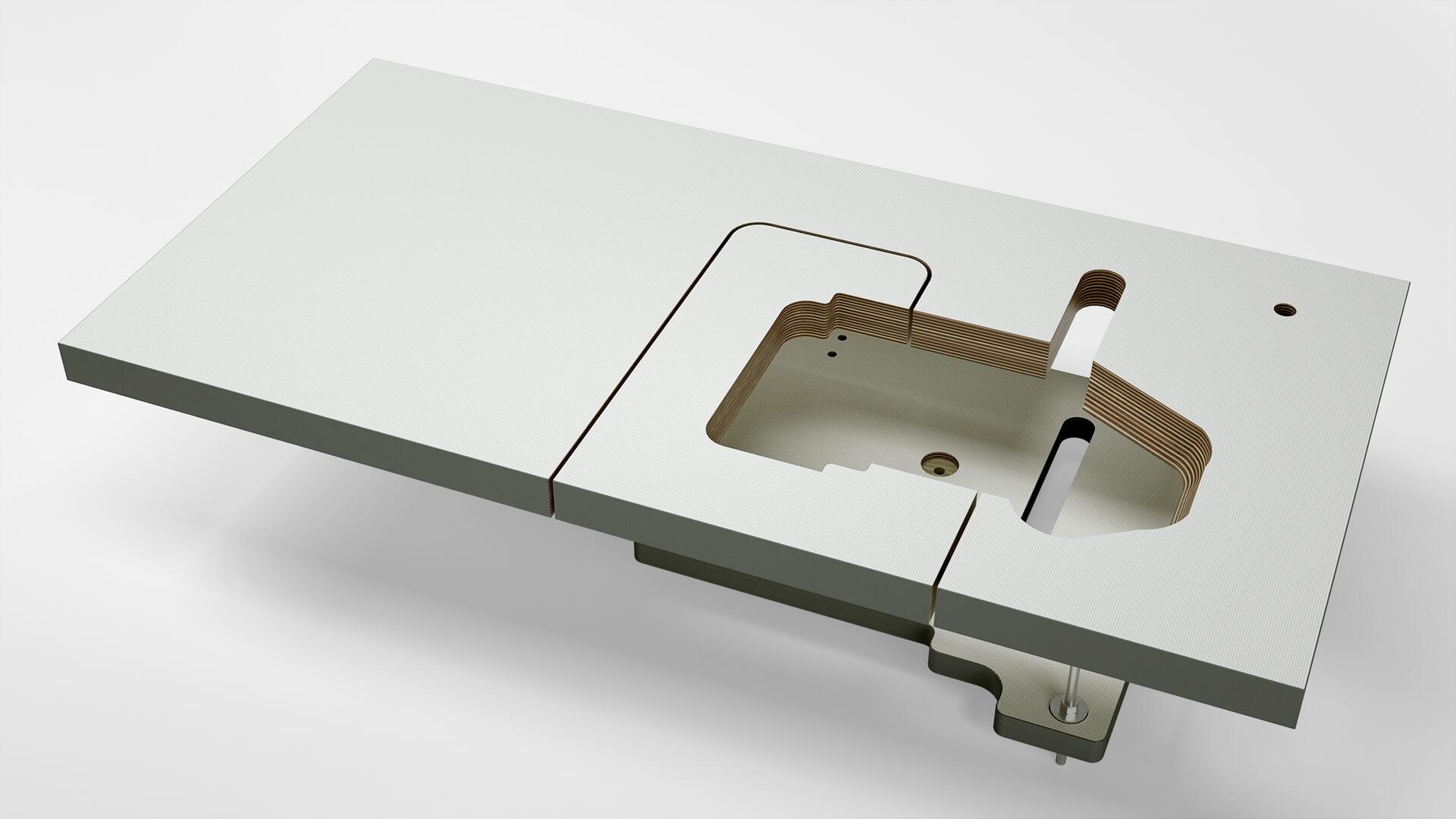 Sondertischplatte, halb- und vollversenkbar