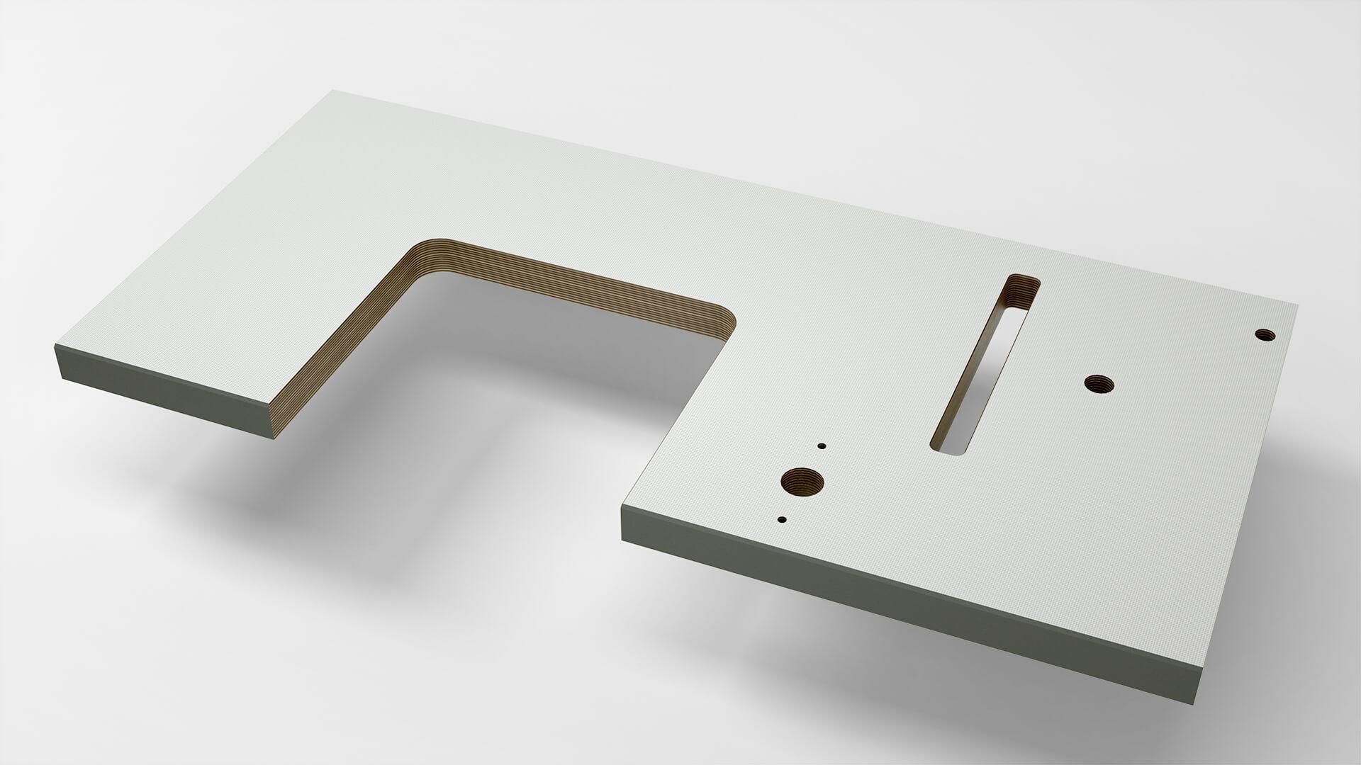 Tischplatte mit U-Aussparung